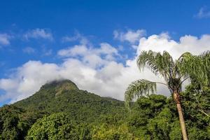 montagne abraao pico do papagaio avec des nuages. ilha grande brésil. photo