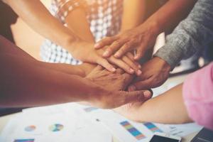 collaboration d'unité de travail d'équipe, concept de travail d'équipe d'affaires. photo