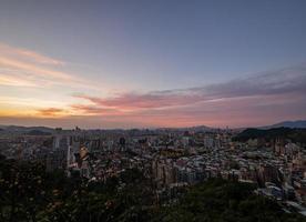 coucher de soleil vue grand angle de la région de jingmei photo