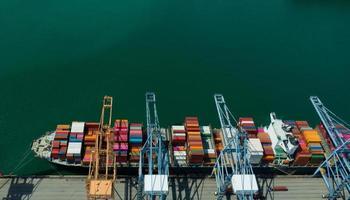 entreprise de logistique, expédition d'import export, conteneur de vue aérienne photo