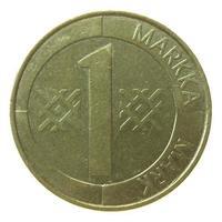 pièce de monnaie finlandaise vintage isolée photo