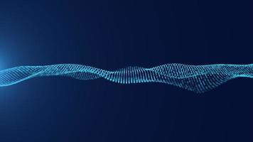 concept de technologie de particules de vague de filature bleue photo