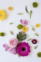 vue de dessus magnifique assortiment de fleurs photo
