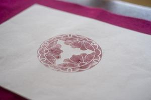 le papier origami tampon rouge photo