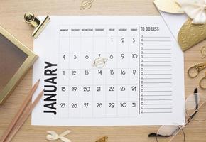 concept d'organisation du temps avec vue du planificateur photo