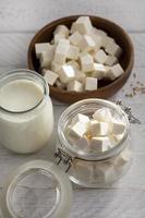 assortiment de produits laitiers à angle élevé photo