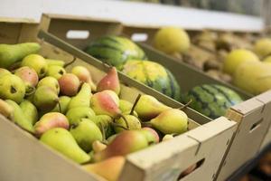 marché de fruits délicieux à angle élevé photo