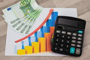 Billets de 100 euros sur les statistiques et près de la calculatrice photo
