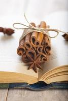 Bâton de cannelle et anis étoilé sur un livre photo