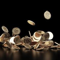Concept de bitcoin de rendu 3D. nouvel argent virtuel. crypto-monnaie photo