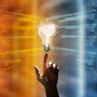 inspiration créative et innovante. concept d'idée brillante d'entreprise. photo