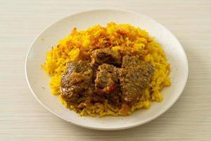 boeuf biryani ou riz au curry et boeuf photo