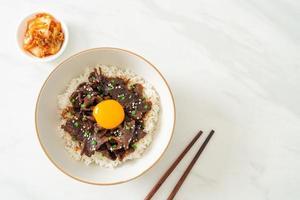 riz au porc au soja ou donburi de porc japonais photo