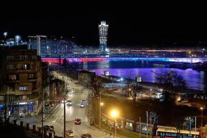 tournage de nuit du paysage urbain de belgrade photo
