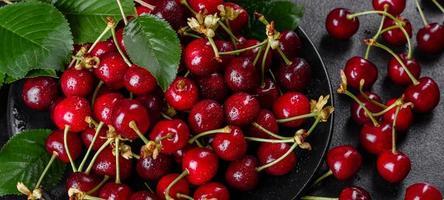 De délicieuses baies de cerises rouges lumineuses fraîches déchirées dans le jardin d'été photo
