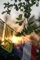 des drapeaux de prières bouddhistes flottent au vent. bouddhisme de la foi. photo