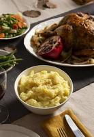 la table d'assortiment du dîner de Thanksgiving photo