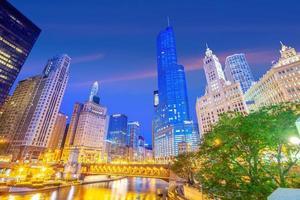 Le centre-ville de Chicago skyline paysage urbain aux Etats-Unis photo