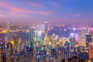Toits de la ville de hong kong avec vue sur le port de victoria photo