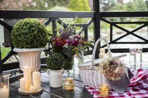 conception de lieu décoratif, décor d'événement de salle à manger de luxe photo