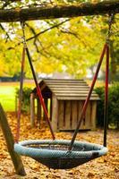 balançoire et feuilles d'automne sèches dans la nature photo