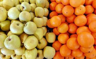 pomme et orange saine et biologique photo