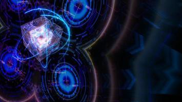 ordinateur futuriste quantique et fond de matrice numérique photo