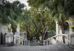 calcada do carmo ruelle de style colonial portugais dans le vieux quartier de taipa de macao chine photo