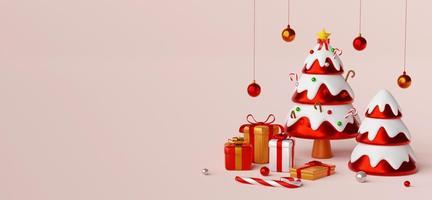 carte postale de noël de l'arbre de noël avec des cadeaux, illustration 3d photo