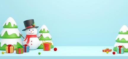 carte postale de noël de bonhomme de neige avec arbre de noël, illustration 3d photo