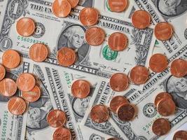 pièces et billets en dollars photo