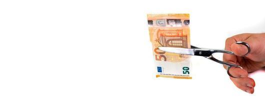 bannière dédiée au monde de l'entreprise et 50 billets en euros photo