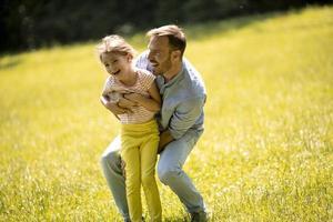 père avec fille s'amusant sur l'herbe au parc photo