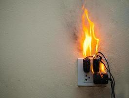 sur l'adaptateur d'incendie à la prise de courant sur fond blanc photo