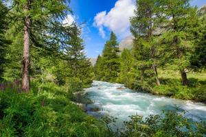 rivière alpine pleine d'eau sur les alpes suisses photo