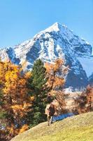 un cheval dans un paysage d'automne de haute montagne sur les alpes suisses photo
