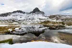 lac de montagne idyllique photo