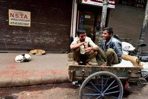 hommes riant assis dans le chariot photo