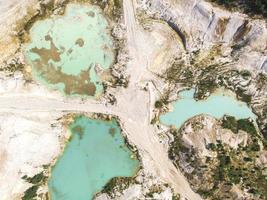 vue drone sur une carrière de kaolin inondée eau turquoise et rivage blanc photo