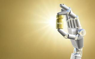 main de robot tenant le vaccin doré photo