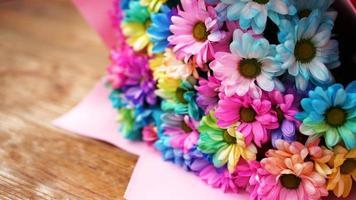 gros plan fleur arc-en-ciel bouquet de fleurs photo