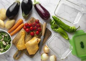 fermer la préparation de délicieux repas photo