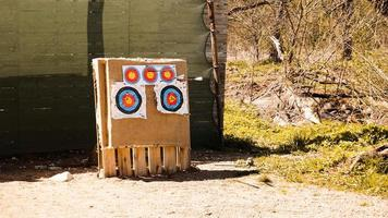 tir à l'arc. cible avec des flèches à l'extérieur. divertissement actif photo