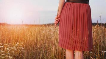 femme dans le champ de blé, la femme tient l'épi de blé à la main photo
