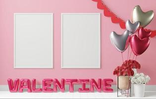 message de la Saint-Valentin fait de ballons avec pot de rose et cadre. photo