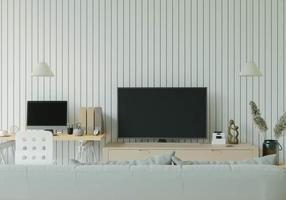 salon avec tv et meubles photo