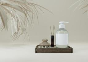flacon pompe pour crème ou parfum sur fond gris. photo