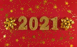 carte de voeux du nouvel an 2021. chiffres scintillants dorés, étoiles photo