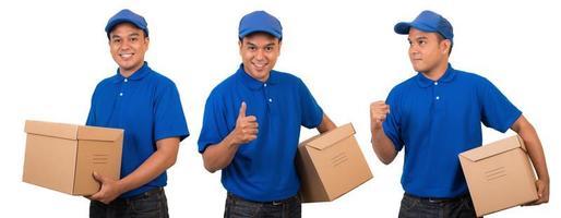 jeune livreur asiatique en uniforme bleu photo