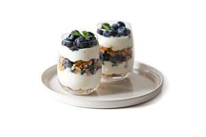 deux desserts aux bleuets sur une assiette ronde photo